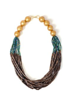 Axel Accessories : ESHOP WOOD.STONE NECKLACE W/GD BEADS