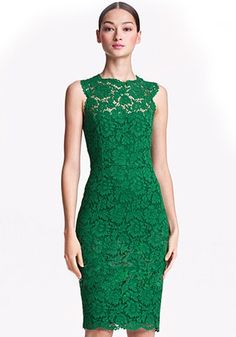 Green Round Neck Sleeveless Skinny Thin Lace Dress Mother of the Bride dress but in a different color???