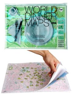 lovely idea. City maps as paper placemats. I would choose the NY, Tokyo, London and Paris.
