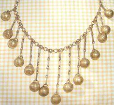 1940's Deco Brass Dangles Festoon Necklace Very Cool!