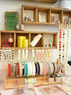 Keep your piles of ribbons organized, handy and pretty enough to display