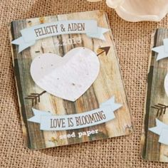 Rustic Hearts Personalized Seed Paper Cards (Set of 12) (Kate Aspen 17064NA) | Buy at Wedding Favors Unlimited (http://www.weddingfavorsunlimited.com/rustic_hearts_personalized_heart_seed_papercards_set_of_12.html).