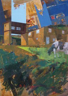 Urbana Rustica VI - Bres – Taramundi - Asturias.  Collage + Acrílico  99 X 71 Ccm. 2010.  Seleccionado en: XIII Certamen de Pintura Villaviciosa Asturias 2010