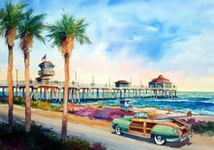 """Surf City Cruisin'"" by Bill Drysdale, Southern California // Surfer girl cruising PCH in her Town and Country Woodie. Original watercolor size 18 X 27. // Imagekind.com -- Buy stunning, museum-quality fine art prints, framed prints, and canvas prints directly from independent working artists and photographers."