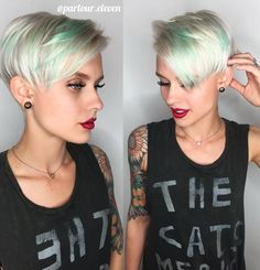 Platinum Pixie With Turquoise Highlights