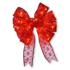National Tree Company 9-in. Pre-Lit Bow Christmas Tree Topper, Red