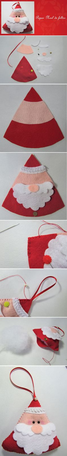 How to Make a Felt Santa Claus Felt Christmas Ornaments, Christmas Crafts For Kids, Kids Christmas, Felt Crafts, Holiday Crafts, Fabric Crafts, Sewing Crafts, Sewing Projects, Felt Decorations