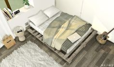 Pallet Floor Bed  • Pallet Floor Bed Frame merged with custom mattress, inspired from this beautiful pic ( 989 Polygons )  • Pillows  • Blanket ( Mesh by Jonesi )  DOWNLOAD