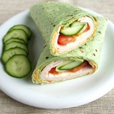 Turkey Cucumber Tomato Spinach Wrap, recipe below at mysanfranciscokitchen.com