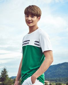 "Minho modeled K2 Sports shirts…which we didn't even know there was a brand named ""K2"". (LOL) Check it out! Source  