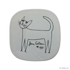 "Ceramic plate with cat decoration by Jean Cocteau, signed and marked ""Limoges"" on back, France, 1959. Diameter:  5-1/2"" #Ceramic #JeanCocteau #Limoges"