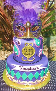 Mardi Gras cake @Cara K K Hagge.......i like the number in front like this one