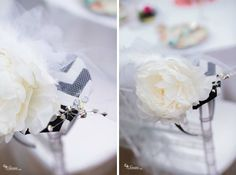 """DIY """"Hats"""" attached to headbands for easy wear! Marie's Bridal Shower 