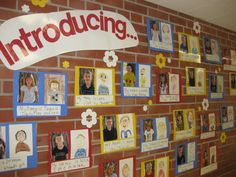 "Beginning of year. Love this idea! Would be even cuter to put a flap over the actual picture with ""guess who"" on it so parents can guess their child and see if they are correct :) School classroom set-up School Classroom, Classroom Activities, Classroom Organization, Classroom Decor, First Day Of School Activities Ks2, Reception Classroom Ideas, Classroom Timeline, Primary Classroom Displays, Eyfs Classroom"
