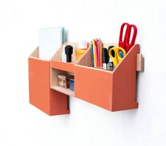Wood Wall Hanging Orange Organizer Wall Office Paper
