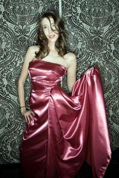 Burgundy purple satin dress