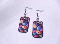 269 - Boucles d'oreilles rectangle mosaïque multicolore - crochet bronze