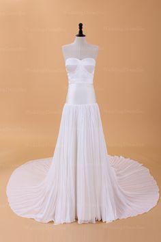 Simple yet elegant bridal gown  A-line/Princess, Floor Length, Natural, Chapel Train, Strapless, Sweetheart, Sleeveless, Pleats, Zipper, Silk Chiffon, Church, Garden/Outdoor, Hall, Spring, Fall,