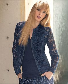 INC International Concepts Faux-Leather-Trimmed Lace Moto Jacket is on sale now for - 25 % !