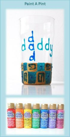 Message On A Mug.  Great #Father's Day #DIY Gift Idea. #Craft. #DecoArt Glass Paints (Gloss Enamels) are designed for use on glass and glazed ceramics but can also be used on porcelain and metal.  Dishwasher safe.  There are lots of glass paint options:  opaque, crystal, translucent, frost, metallic, glitter, chalkboard and 3D.