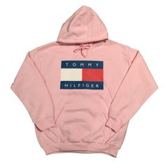 Handmade Pink Tommy Hilfiger Logo Hoodie Sizing: Body Width: S=18, M=20, L=22, XL=24 Body Length: S=27, M=29 L=31 XL=32 Washing instructions: -Do not wash for at least 24 hours -Turn garment inside out and wash in cold water -Do not use bleach or fabric softener -Dry at normal or low setting; do not dry clean. -Do not iron directly on the transfer area.