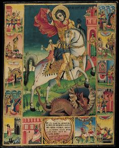 St George's Life Icon by Dimitar Kochnov, 1838 Byzantine Icons, Byzantine Art, Patron Saint Of England, Saint George And The Dragon, Christian Artwork, Great Warriors, Icon Collection, Orthodox Icons, Renaissance Art