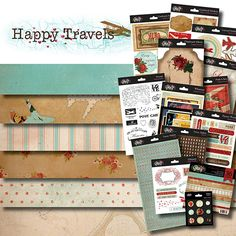 Glitz Happy Travels- I think I like this collection. not many feminine travel lines out there...til now. :) Love the robin's egg, red and kraft combo