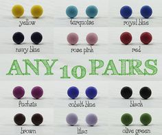 Any 10 Pairs - Matte Small Stud Earrings 9mm -  Choose Your Colors - Everyday Wear Studs - Simple Cute Post Earrings - Stainless Steel Post