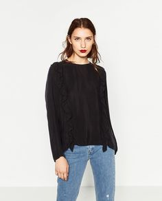 Image 2 of LONG SLEEVE FRILLY BLOUSE from Zara