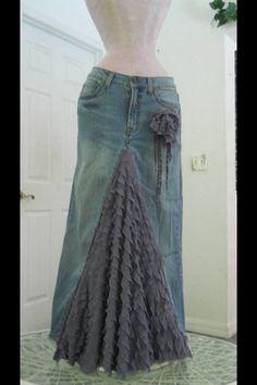 Boho jeans skirt
