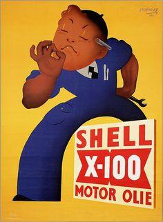 Dutch ad poster for Shell X-100 motor oil - circa 1950 - artist Koen van Os.