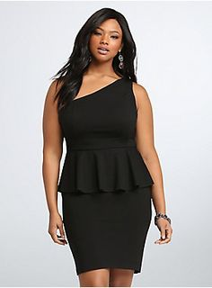 "Stretch material makes this shape-shifting LBD a ""dance the whole night away and stay comfy"" kind of style. A peplum cut along the tummy flares out for a flattering fit, while curved seams complement the très chic one-shoulder bodice."