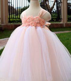 Flower Girl Dress Blush peach tutu dress baby dress toddler birthday dress wedding dress 6T 7T 8T 9T