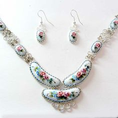 Russian enamel jewelry set - Smile blue necklace and pair of earrings.