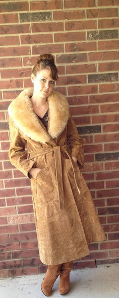 Vintage Suede Coat with Sheepskin Collar