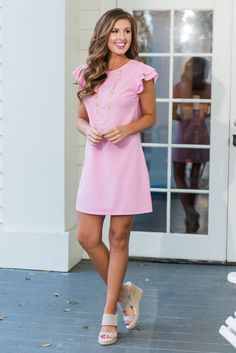 """""""Beauty Bound Dress, Baby Pink""""Beauty abounds with this precious pink dress! Those fluttering sleeves are too cute and so wonderfully feminine! #newarrivals #shopthemint"""