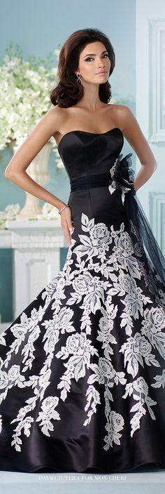 David Tutera for Mon Cheri Fall 2016 Collection - Style No. 216236 Hinto - black and ivory wedding dress - strapless satin fit and flare gown with rose pattern lace appliqués