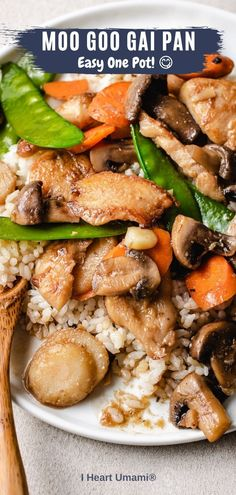Moo Goo Gai Pan with gluten-free moo goo gai pan sauce is an easy one-pot meal that's fresh, delicious, and healthy! #chickenrecipes #asianrecipes #chineserecipes #glutenfreerecipes #healthyrecipes