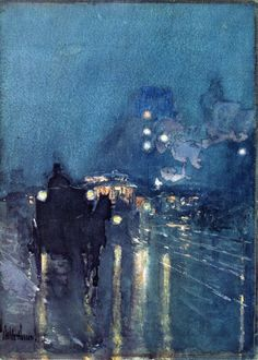 Nocturne, Railway Crossing, Chicago Frederick Childe Hassam - circa Museum of Fine Arts (United States) Painting - watercolor Height: cm in. Art And Illustration, Nocturne, Art Amour, Art Et Architecture, Wow Art, Art For Art Sake, Art Design, Painting & Drawing, Blue Painting