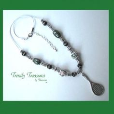 $11.00, 2.80 shipping.  Tennis Racquet, Pewter & Ceramic Bead Accents, Corded Necklace, Green & Black.  #TrendyTreasuresByRamona