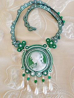 Soutache  necklace green sant. patrick with cammeo fall trend on Etsy, $60.00