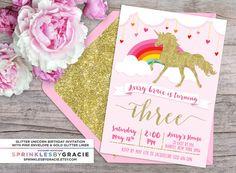 Brillo mágico unicornio cumpleaños fiesta invitación con envío gratuito o DIY para imprimir