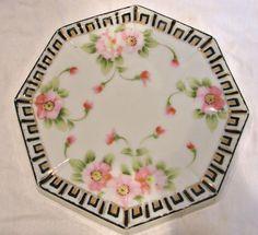 Japanese Nippon Tea Trivet Hand Painted Pink Dogwood Blossoms c 1910