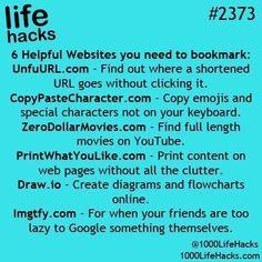 Life hacks: helpful websites