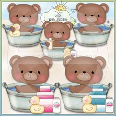 Bathing Bears 1 - Non-Exclusive Lisa Craig Clip Art - Click Image to Close