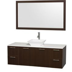 Wyndham Collection 'Amare' 60-inch Espresso/ White Top/ White Sink Vanity Set | Overstock.com Shopping - Great Deals on Wyndham Collection Bath Vanities