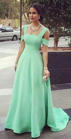 Elegant Princess Square off the shoulder prom dress, Fashion Neck Green Satin Empire Court Train Party Dress