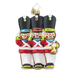 Christopher Radko Merry Marchers Soldiers Glass Christmas Ornament