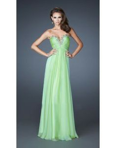 2014 Prom Dress Green La Femme 18563 Strapless