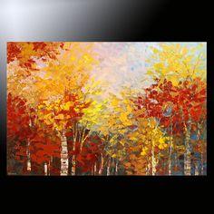 PAINTING Canada MONTREAL Quebec ORIGINAL fine ART fall foliage autumn TATIANA #Impressionism